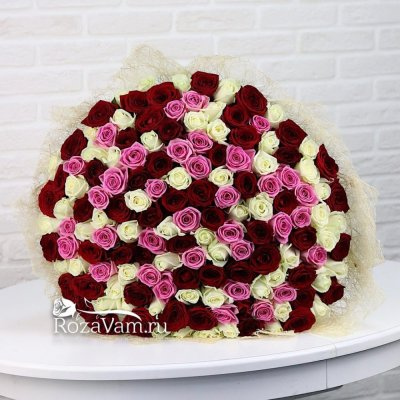 Букет из 101 розы микс (50 см)