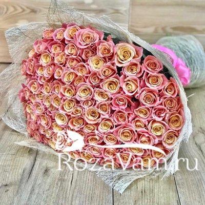 Букет из 101 персиковой розы (60 см)