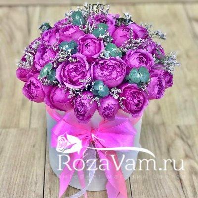 Шляпная коробка из пионовидных роз ( S )