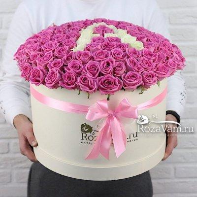 Любая буква на выбор в коробке из 101 розы