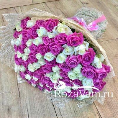 Букет из 101 бело-розовой розы (50 см)