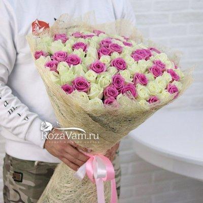 Букет из 101 бело-розовой розы ( 50 см)