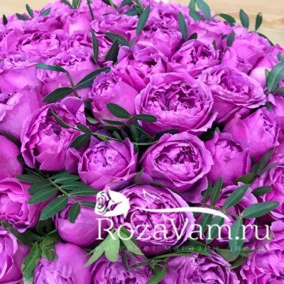 Розовая коробка из пионовидных роз