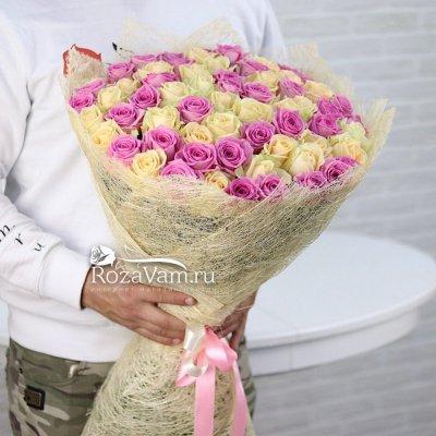 Букет из 101 крем-розовой розы (50 см)