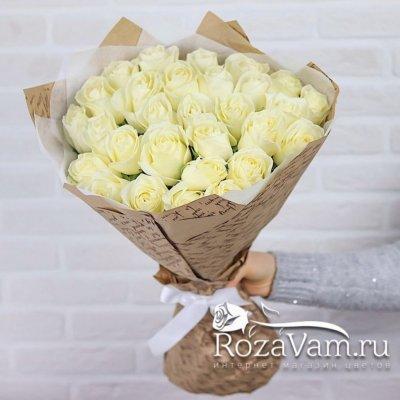 Букет из 29 белых роз (60 см)
