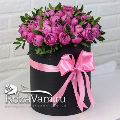 коробка из пионовидных кустовых  роз ( M )