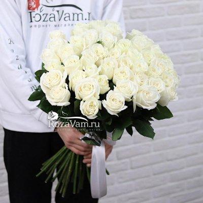 Букет из 51 белой  розы эквадор (70 см)