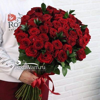 Букет из 51 красной розы (70 см) + зелень