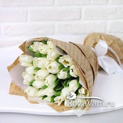 Букет из белых тюльпанов 25 шт