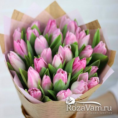 Букет из розовых тюльпанов 25 шт