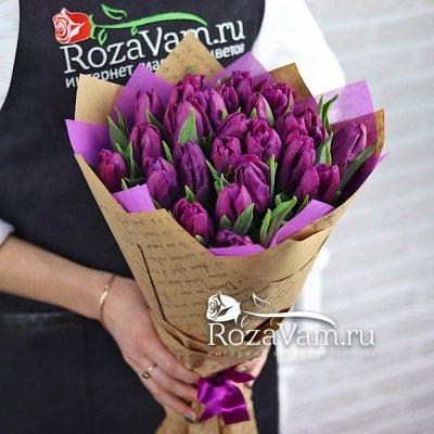 Букет из сиреневых тюльпанов 25 шт