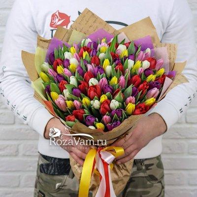 Букет микс из 101 тюльпана